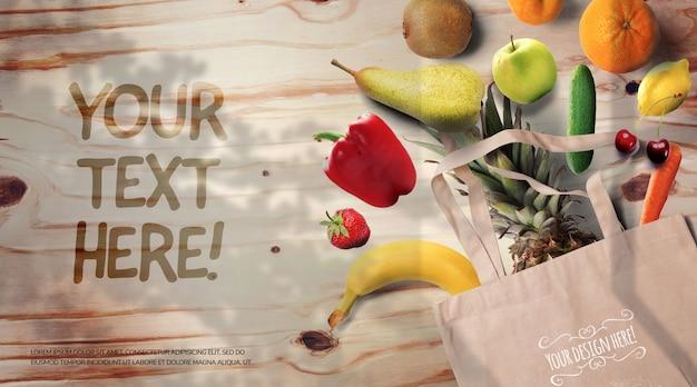 Frutas e legumes em uma maquete de mesa de madeira rústica