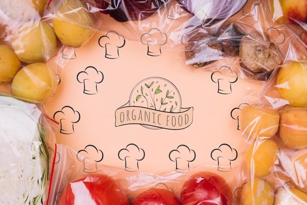 Frutas em sacos reutilizáveis
