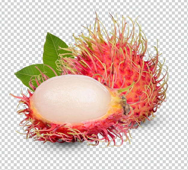 Frutas frescas de rambutan com folhas isoladas premium psd
