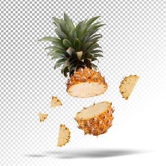 Fruto de abacaxi dividido isolado