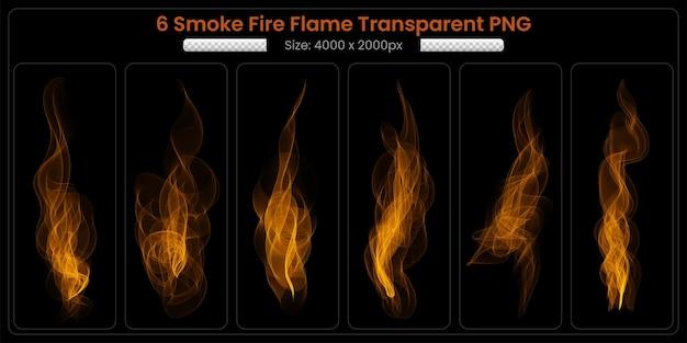 Fumaça coleção transparente de chamas de fogo em fundo preto