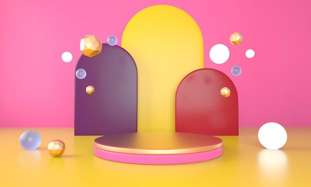 Fundo abstrato 3d com pódio para renderização de exibição de produto