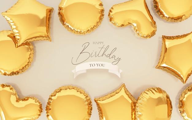 Fundo de aniversário com balões dourados realistas