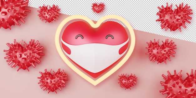 Fundo de conceito de dia dos namorados em renderização 3d