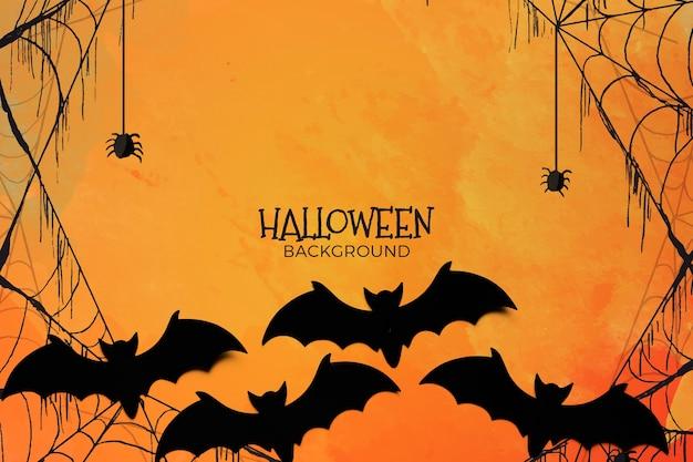 Fundo de conceito de halloween com teia de aranha e morcegos