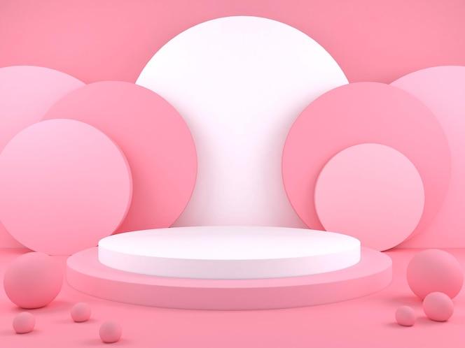 Fundo de cor pastel de pódio geométrico mínimo para apresentação de produto ilustração de renderização em 3d