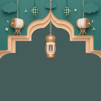 Fundo de decoração de exibição islâmica com lanterna árabe bedug drum e ketupat