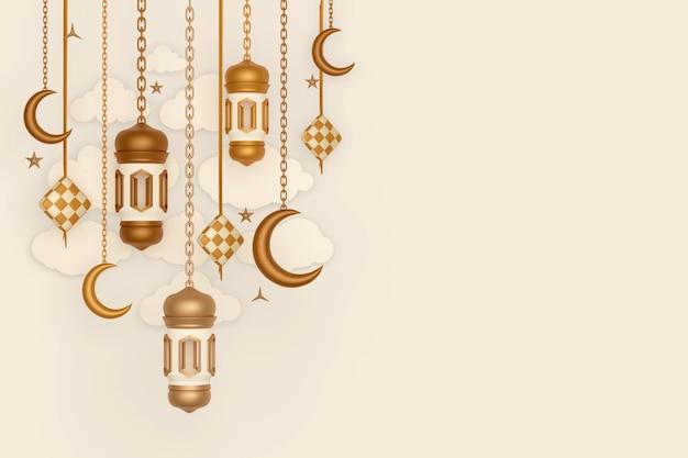 Fundo de decoração de exibição islâmica com lanterna crescente e nuvem