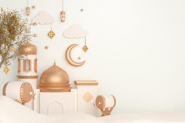 Fundo de decoração de exibição islâmica com lanterna e crescente da mesquita de tambor de cama