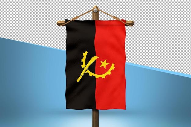 Fundo de desenho de bandeira de angola hang