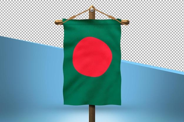Fundo de desenho de bandeira de bangladesh hang