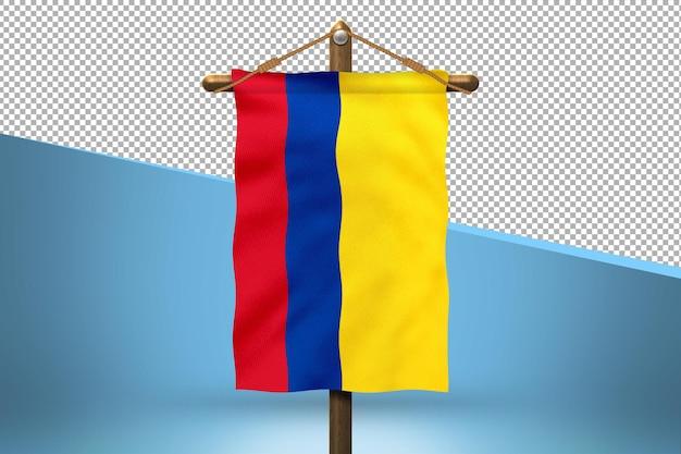 Fundo de desenho de bandeira de suspensão da colômbia