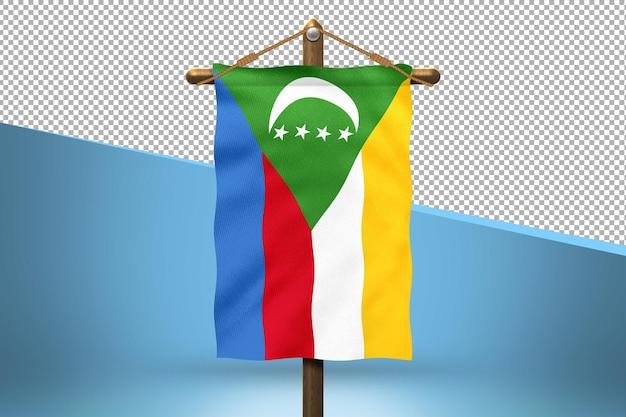 Fundo de desenho de bandeiras de suspensão de comores