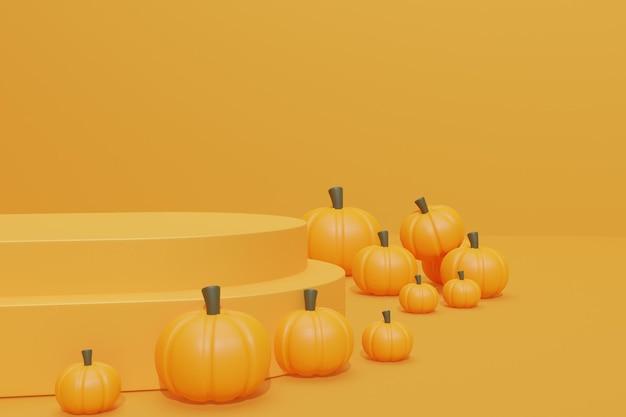 Fundo de halloween com pódio 3d para exibição de produtos