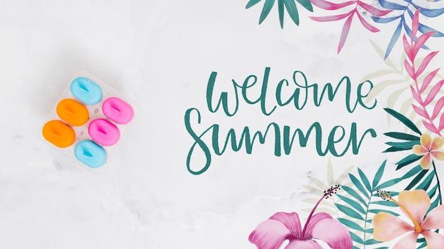 Fundo de letras de verão com gelados