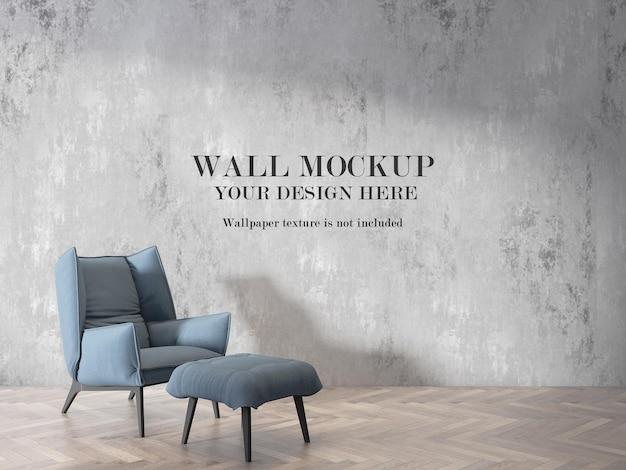 Fundo de maquete de parede da sala atrás de uma poltrona canapés