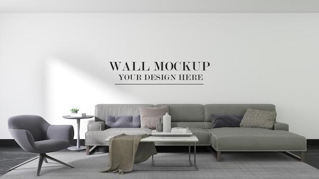 Fundo de maquete de parede de sala de estar moderna