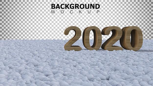 Fundo de maquete para 2020 sinal no jardim de pedras de cor branca