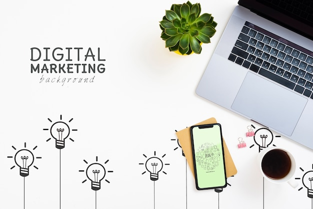 Fundo de marketing digital para laptop e iphone