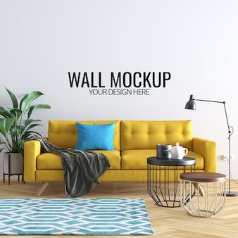 Fundo de mockup de parede interior moderna sala de estar