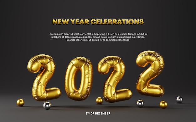 Fundo de modelo de balões de folha de ouro metálico de celebrações de ano novo de 2022