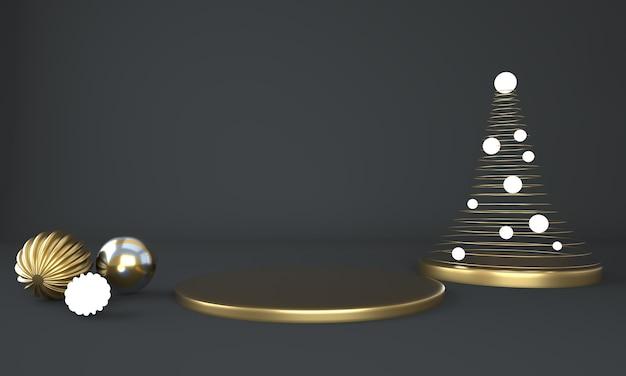 Fundo de natal com árvore de natal e palco para exibição de produto em renderização 3d