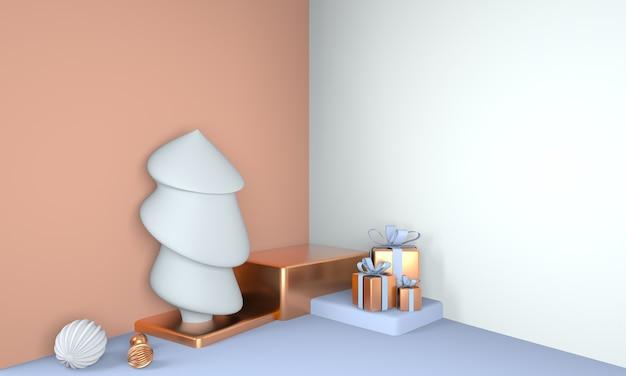 Fundo de natal com árvore de natal e palco para exibição de produto renderização em 3d