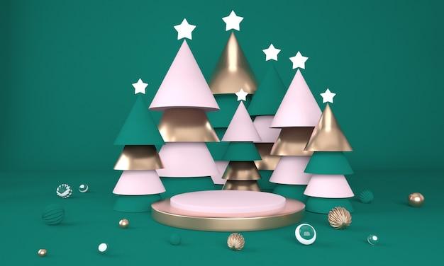 Fundo de natal com árvore de natal e palco para exibição de produtos em renderização 3d