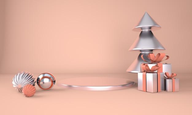 Fundo de natal com árvore de natal e palco para exposição de produtos