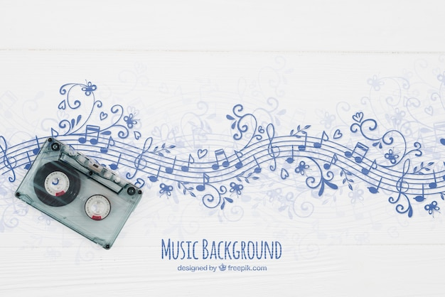 Fundo de notas musicais com fita