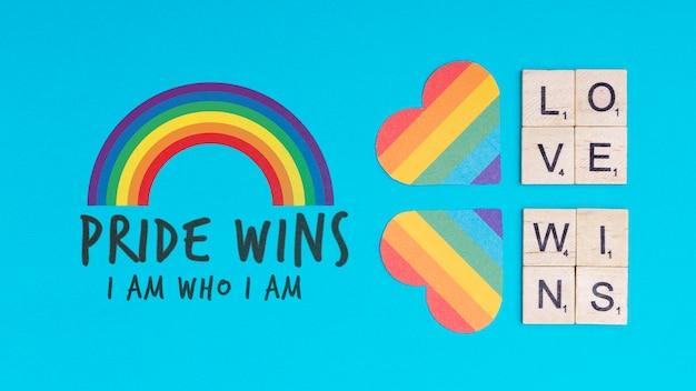 Fundo de orgulho gay com corações
