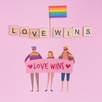Fundo de orgulho gay com elementos