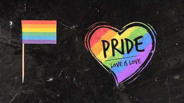 Fundo de orgulho gay com um coração