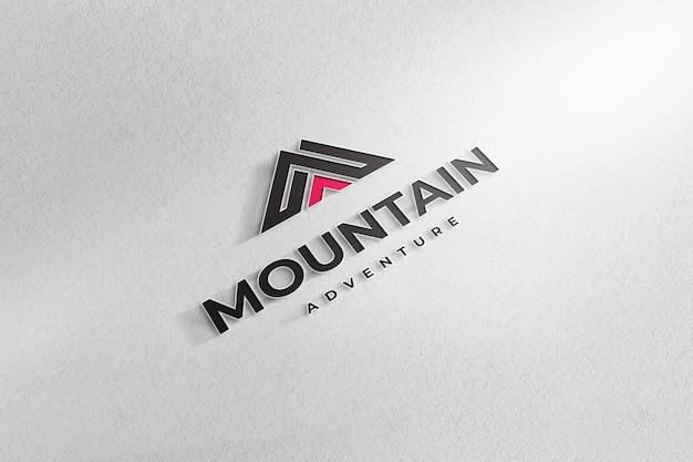 Fundo de papel branco de sinal de maquete realista de logotipo
