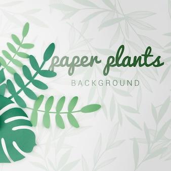 Fundo de plantas de papel gradiente tons verdes com sombras