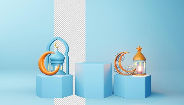 Fundo de ramadan kareem, renderização em 3d.