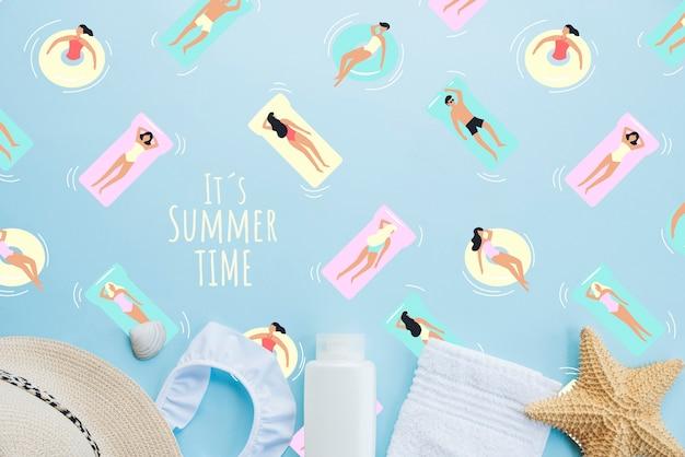 Fundo de rotulação de verão com elementos de verão