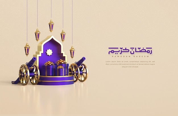 Fundo de saudação ramadan kareem com elementos decorativos festivos islâmicos 3d realistas