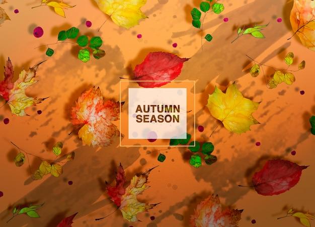 Fundo de temporada outono com folhas