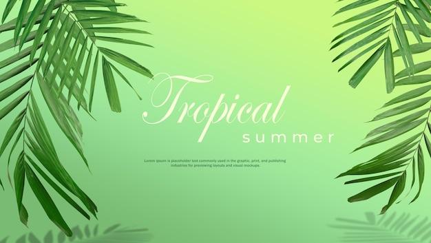 Fundo de venda de verão tropical de folhas de palmeira em um fundo verde