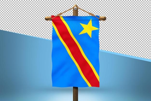 Fundo do desenho da bandeira da república democrática do congo