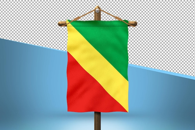 Fundo do desenho da bandeira da república do congo hang