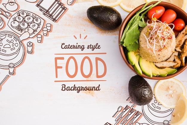 Fundo do menu de restaurante saboroso com espaço de cópia