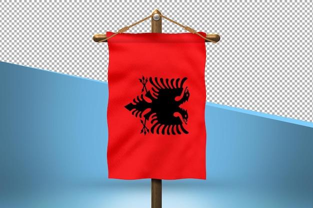 Fundo do projeto da bandeira do hangar da albânia