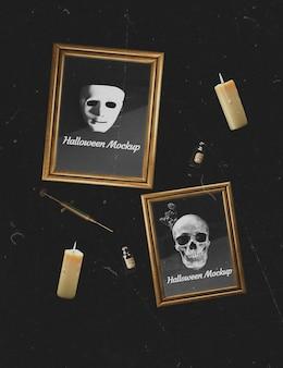 Fundo escuro com quadros de maquete de caveira e máscara