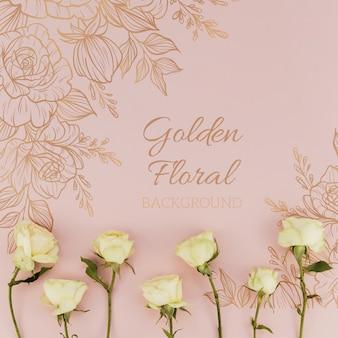 Fundo floral dourado com rosas