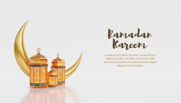 Fundo kareem do ramadã com lâmpada dourada e lua