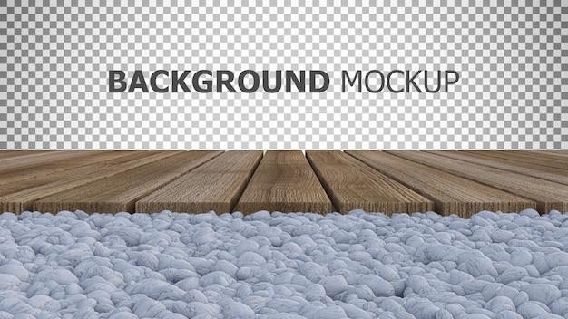Fundo para renderização em 3d do painel de madeira colocado no jardim de pedras brancas