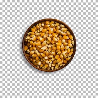 Fundo transparente isolado de semente de milho pop.