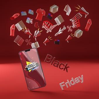 Fundo vermelho com desconto de celular preto sexta-feira